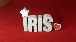 Beton, Steinguss Buchstaben 3D Deko Namen IRIS als Geschenk verpackt mit Stern und Herzklammer!