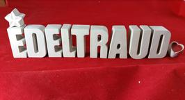 Beton, Steinguss Buchstaben 3D Deko Namen EDELTRAUD als Geschenk verpackt mit Stern und Herzklammer!