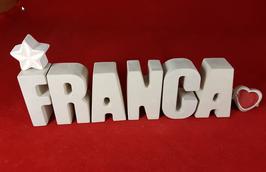 Beton, Steinguss Buchstaben 3D Deko Namen FRANCA als Geschenk verpackt mit Stern Und Herzklammer!