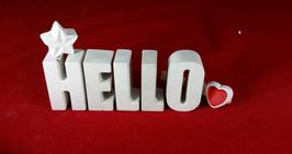 Beton, Steinguss Buchstaben 3D Deko Stern Namen HELLO als Geschenk verpackt!