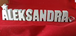 Beton, Steinguss Buchstaben 3D Deko Stern Namen ALEKSANDRA als Geschenk verpackt!