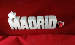 Beton, Steinguss Buchstaben 3D Deko Stern Namen MADRID als Geschenk verpackt!