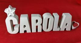 Beton, Steinguss Buchstaben 3D Deko Namen CAROLA als Geschenk verpackt!
