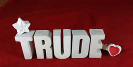 Beton, Steinguss Buchstaben 3D Deko Namen TRUDE als Geschenk verpackt mit Stern und Herzklammer!