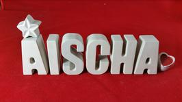 Beton, Steinguss Buchstaben 3D Deko Stern Namen AISCHA als Geschenk verpackt!