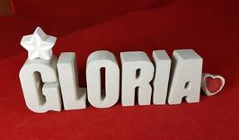 Beton, Steinguss Buchstaben 3D Deko Namen GLORIA als Geschenk verpackt mit Stern und Herzklammer!