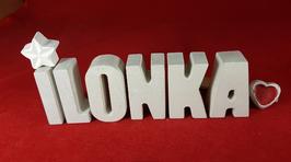 Beton, Steinguss Buchstaben 3D Deko Namen ILONKA als Geschenk verpackt mit Stern und Herzklammer!