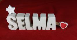 Beton, Steinguss Buchstaben 3D Deko Namen SELMA als Geschenk verpackt mit Stern und Herzklammer!