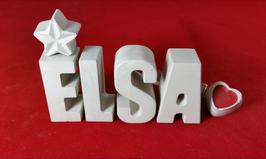 Beton, Steinguss Buchstaben 3D Deko Namen ELSA als Geschenk verpackt mit Stern und Herzklammer!