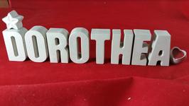 Beton, Steinguss Buchstaben 3D Deko Namen DOROTHEA als Geschenk verpackt mit Stern und Herzklammer!
