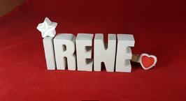 Beton, Steinguss Buchstaben 3D Deko Namen IRENE als Geschenk verpackt mit Stern und Herzklammer!