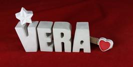 Beton, Steinguss Buchstaben 3D Deko Namen VERA als Geschenk verpackt mit Stern und Herzklammer!