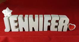 Beton, Steinguss Buchstaben 3D Deko Namen JENNIFER als Geschenk verpackt mit Stern und Herzklammer!