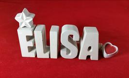 Beton, Steinguss Buchstaben 3D Deko Namen ELISA als Geschenk verpackt mit Stern und Herzklammer!