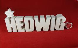 Beton, Steinguss Buchstaben 3D Deko Namen HEDWIG als Geschenk verpackt mit Stern und Herzklammer!