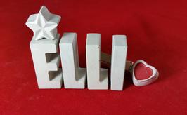 Beton, Steinguss Buchstaben 3D Deko Namen ELLI als Geschenk verpackt mit Stern und Herzklammer!