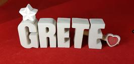 Beton, Steinguss Buchstaben 3D Deko Namen GRETE als Geschenk verpackt mit Stern und Herzklammer!
