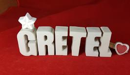 Beton, Steinguss Buchstaben 3D Deko Namen GRETEL als Geschenk verpackt mit Stern und Herzklammer!
