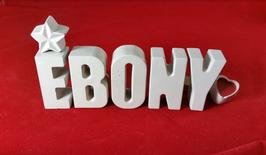 Beton, Steinguss Buchstaben 3D Deko Namen EBONY als Geschenk verpackt mit Stern und Herzklammer!