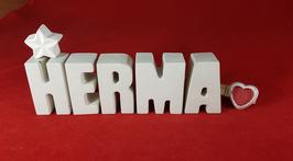 Beton, Steinguss Buchstaben 3D Deko Namen HERMA als Geschenk verpackt mit Stern und Herzklammer!