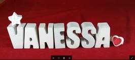Beton, Steinguss Buchstaben 3D Deko Namen VANESSA als Geschenk verpackt mit Stern und Herzklammer!