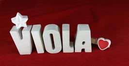 Beton, Steinguss Buchstaben 3D Deko Namen VIOLA als Geschenk verpackt mit Stern und Herzklammer!