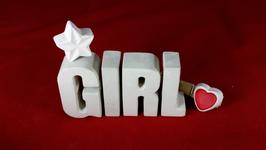 Beton, Steinguss Buchstaben 3D Deko Stern Namen GIRL als Geschenk verpackt!