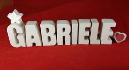 Beton, Steinguss Buchstaben 3D Deko Namen GABRIELE als Geschenk verpackt mit Stern und Herzklammer!