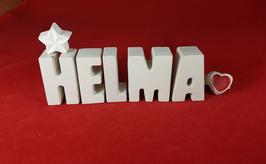 Beton, Steinguss Buchstaben 3D Deko Namen HELMA als Geschenk verpackt mit Stern und Herzklammer!