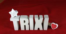 Beton, Steinguss Buchstaben 3D Deko Namen TRIXI als Geschenk verpackt mit Stern und Herzklammer!
