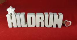Beton, Steinguss Buchstaben 3D Deko Namen HILDRUN als Geschenk verpackt mit Stern und Herzklammer!