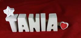 Beton, Steinguss Buchstaben 3D Deko Namen TANIA als Geschenk verpackt mit Stern und Herzklammer!