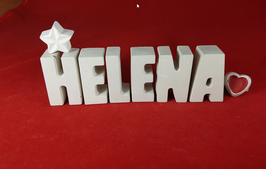 Beton, Steinguss Buchstaben 3D Deko Namen HELENA als Geschenk verpackt mit Stern und Herzklammer!