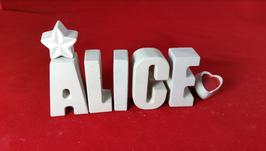 Beton, Steinguss Buchstaben 3D Deko Namen ALICE als Geschenk verpackt!