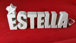 Beton, Steinguss Buchstaben 3D Deko Namen ESTELLA als Geschenk verpackt mit Stern und Herzklammer!