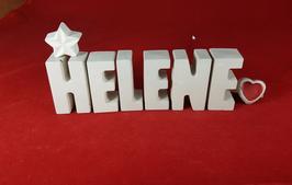 Beton, Steinguss Buchstaben 3D Deko Namen HELENE als Geschenk verpackt mit Stern und Herzklammer!