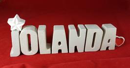 Beton, Steinguss Buchstaben 3D Deko Namen JOLANDA als Geschenk verpackt mit Stern und Herzklammer!