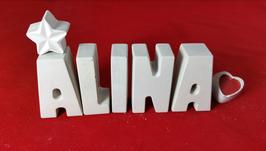 Beton, Steinguss Buchstaben 3D Deko Namen ALINA als Geschenk verpackt!