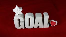 Beton, Steinguss Buchstaben 3D Deko Stern Namen GOAL als Geschenk verpackt!