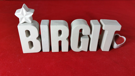 Beton, Steinguss Buchstaben 3D Deko Stern Namen BIRGIT als Geschenk verpackt!