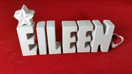 Beton, Steinguss Buchstaben 3D Deko Namen EILEEN als Geschenk verpackt mit Stern und Herzklammer!