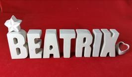 Beton, Steinguss Buchstaben 3D Deko Stern Namen BEATRIX als Geschenk verpackt!