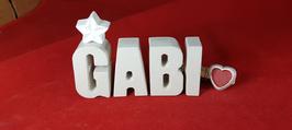 Beton, Steinguss Buchstaben 3D Deko Namen GABI als Geschenk verpackt mit Stern und Herzklammer!