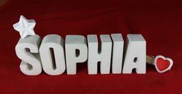 Beton, Steinguss Buchstaben 3D Deko Namen SOPHIA als Geschenk verpackt mit Stern und Herzklammer!