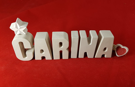 Beton, Steinguss Buchstaben 3D Deko Namen CARINA als Geschenk verpackt!