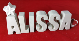 Beton, Steinguss Buchstaben 3D Deko Namen ALISSA als Geschenk verpackt!