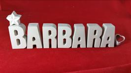Beton, Steinguss Buchstaben 3D Deko Stern Namen BARBARA als Geschenk verpackt!