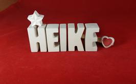 Beton, Steinguss Buchstaben 3D Deko Namen HEIKE als Geschenk verpackt mit Stern und Herzklammer!