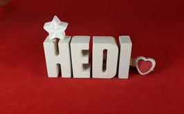 Beton, Steinguss Buchstaben 3D Deko Namen HEDI als Geschenk verpackt mit Stern und Herzklammer!