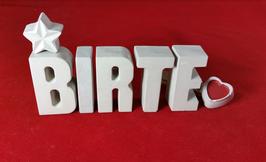 Beton, Steinguss Buchstaben 3D Deko Stern Namen BIRTE als Geschenk verpackt!
